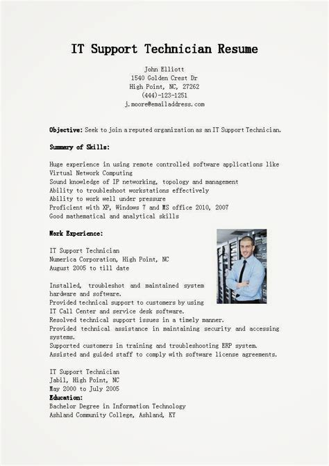 Technician Resume by Resume Sles It Support Technician Resume Sle