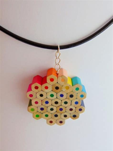 flower shaped rainbow colored pencil pendant necklace