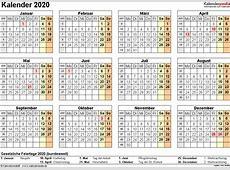 Kalender 2020 zum Ausdrucken als PDF 16 Vorlagen, kostenlos