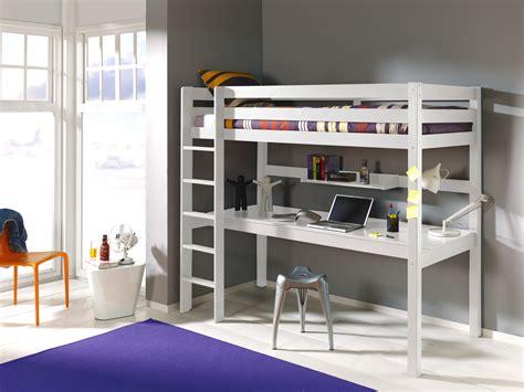 lit mezzanine 1 place avec bureau clara en pin massif so
