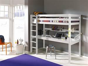 Lit Avec Bureau : lit mezzanine 1 place avec bureau clara en pin massif so nuit ~ Teatrodelosmanantiales.com Idées de Décoration