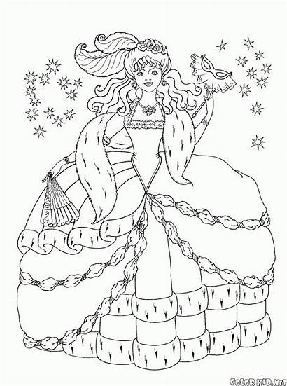 Princess Coloring Peacock Ball Pages Princesses