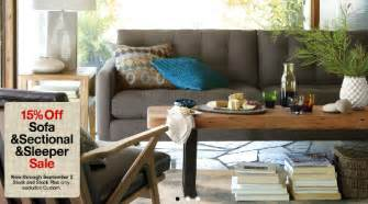 crate and barrel rare sale of 15 off sofas sectionals