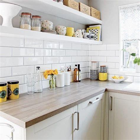 white kitchen  metro tiles  open shelves kitchens