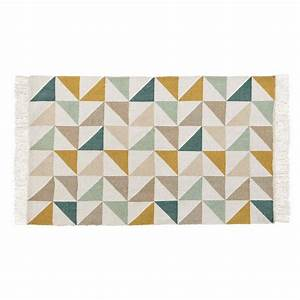 Tapis Motif Triangles En Coton 60 X 100 Cm GASTON