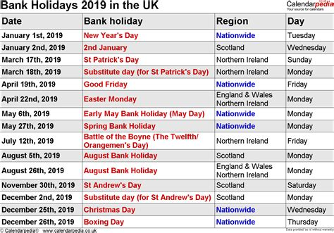 uk federal holidays  calendar uk  united