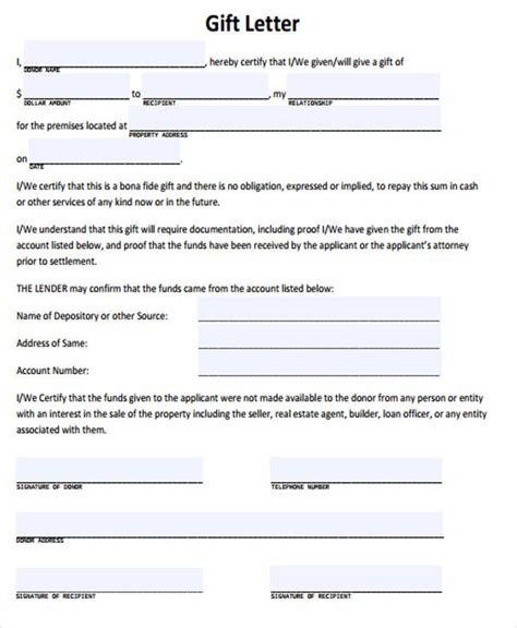 gift letter template rota template