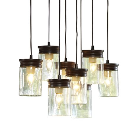 blown modern glass pendant lighting in blue light