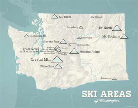 ski washington resorts map print opal skiing 11x14
