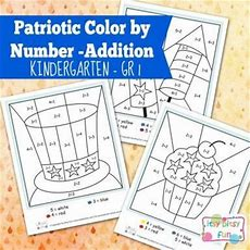 4th Of July Color By Number Addition Kindergarten Worksheets  Holidays4th Of July Simply