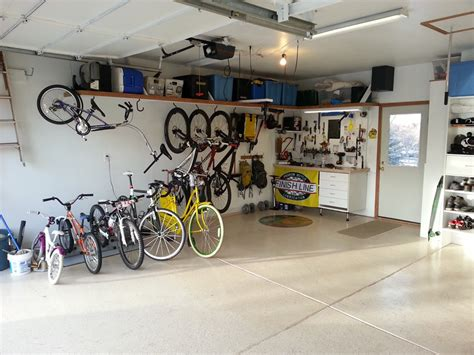 Garage Organization Ideas For Bikes by Well Organized Garage Single Bike Hooks Turned Sideways