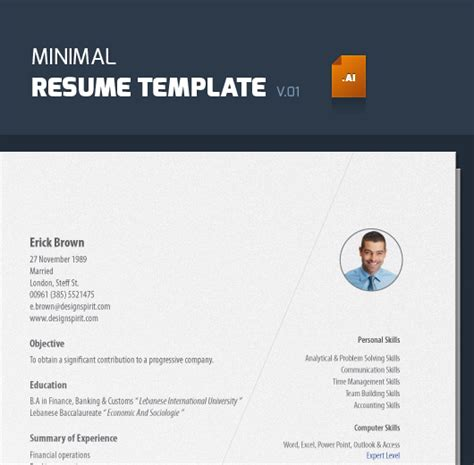 minimal resume template v 01 illustrator