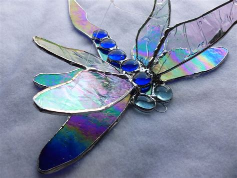 dragonfly stained glass l buy a custom made cobalt iridescent blue dragonfly stained
