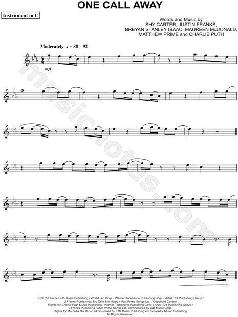 print and one call away c instrument sheet by puth flute