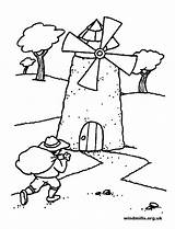 Windmills Coloring Colouring Pages Windmill Wind Blow Template Colour sketch template