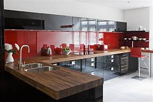 black red high gloss lacquer cupboards red kitchens With black and red kitchen designs