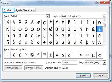 how to add accent marks in word