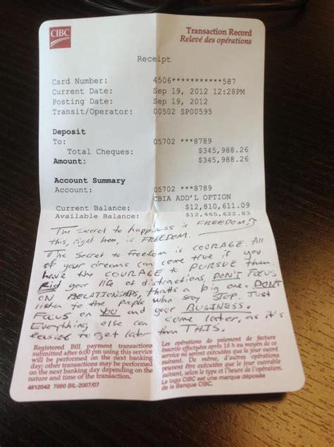 million bank receipt   cafe  advice