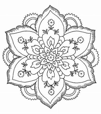 Coloring Abstract Printable Mandala Sheets Flower Adults