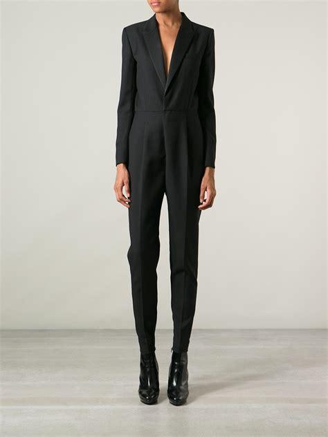 tuxedo jumpsuit laurent tuxedo style jumpsuit in black lyst