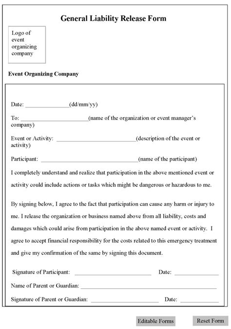 printable sle release and waiver of liability agreement