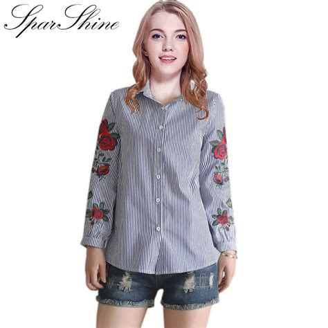 s shirts and blouses 2017 blusas flower embroidery striped blouses