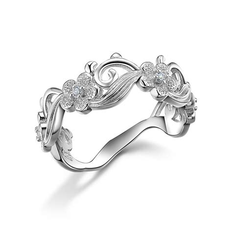 flower cz 925 sterling silver wedding engagement ring band women s size 5 10 ebay