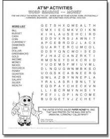 Money Word Search Printable
