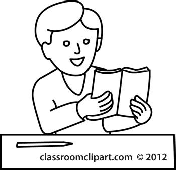 11892 student reading clipart black and white school student reading book 12412 outline classroom