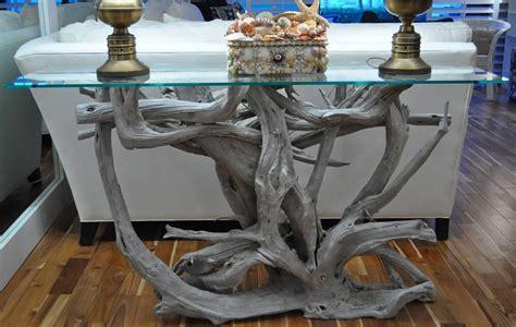 Glass Top Driftwood Sofa Table Driftwood Decor Drift