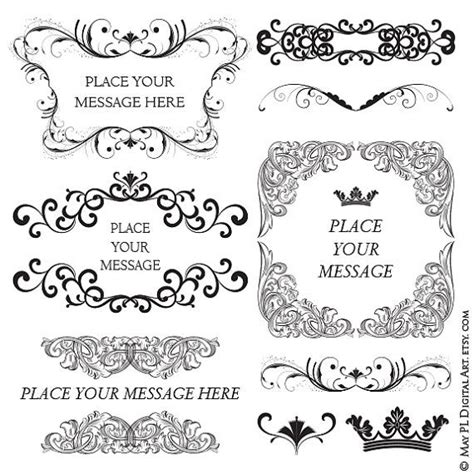 digital frame baroque vintage swirls flourish decorative