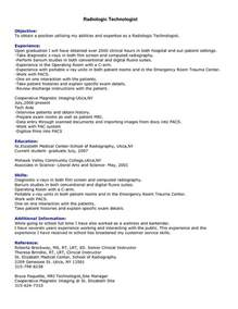 radiology technician resume cover letter resume exle college of radiologic technologist resume