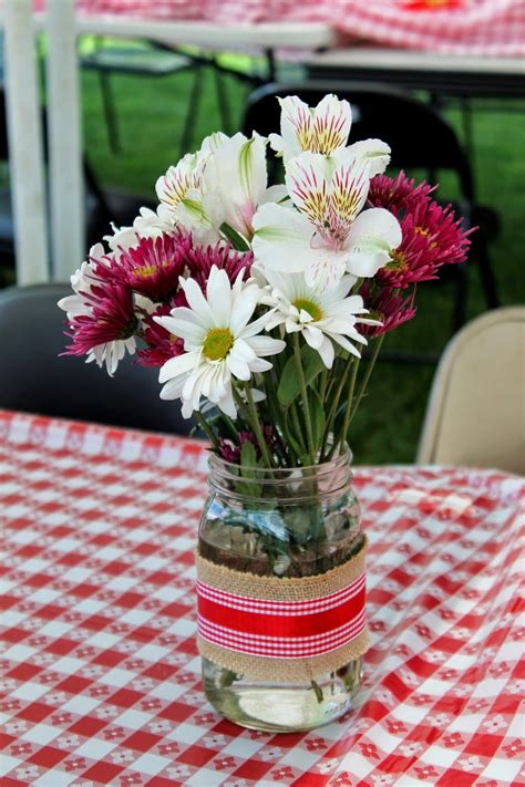 I Do Bbq Flower Centerpiece In Mason Jars Couples