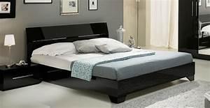 Lit gloria noirl 150 x h 83 x p 198 for Chambre à coucher adulte moderne avec matelas mousse souple