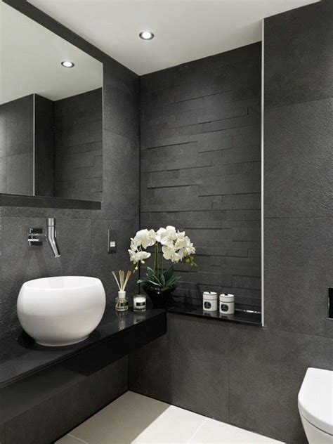 modern bathroom designs gray tiles black vanity white sink