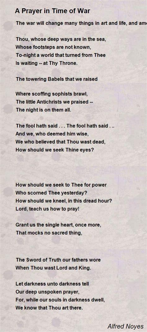 prayer  time  war poem  alfred noyes poem hunter