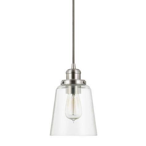 brushed nickel one light mini pendant with clear glass