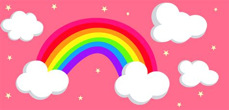 Rainbow Animated Wallpaper - animated rainbow with clouds
