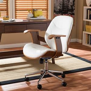 Baxton, Studio, Rathburn, Modern, And, Contemporary, White, And, Walnut, Office, Chair