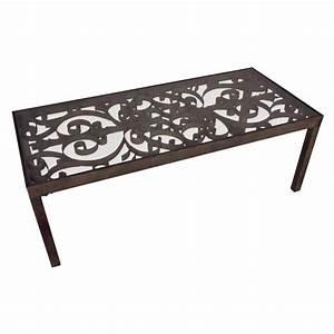 Table basse en fer forge avec volutes for Table basse fer forge
