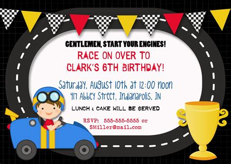 printable race car party invitations cars birthday