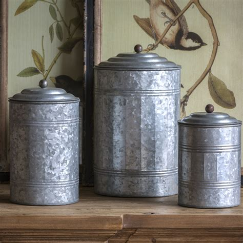 park hill tall galvanized canisters set ze