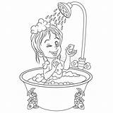 Shower Taking Bath Coloring Douche Hygiene Bathroom Clipart Som Dusche Badrummet Tar Bagno Doccia Che Salle Zum Cartoon Colouring Nemen sketch template