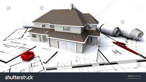 house mockup  architects blueprints rolledup stock