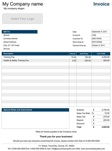hourly invoice template excel invoice sample template