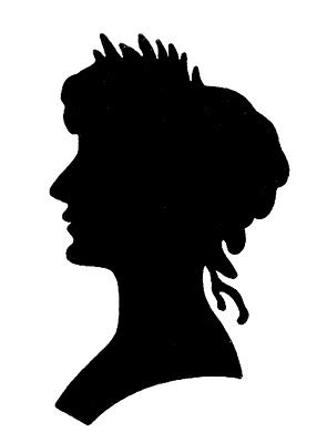 vintage graphic images silhouette lady  floral frame