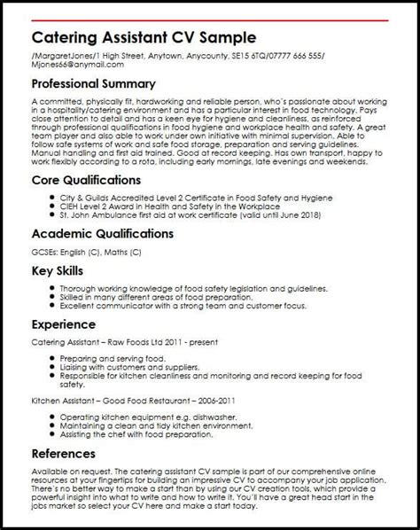 Catering Resume by Catering Resume Sles Talktomartyb