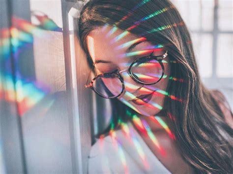 brandon woelfel portrait prism rainbow lines texture