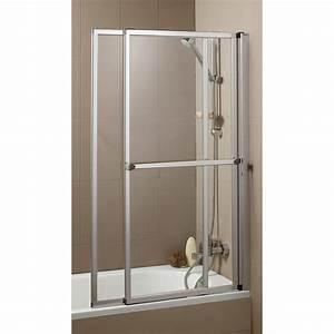 pare baignoire 2 volets verre de securite 3 mm transparent With porte de douche coulissante avec meuble pas cher salle de bain