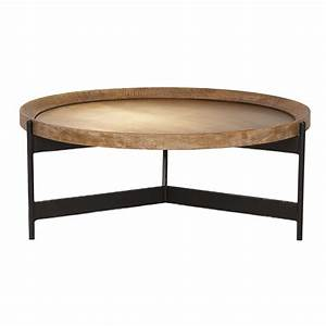 zeke round coffee table light brass and oak occasional With light oak round coffee table